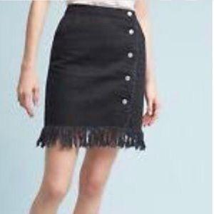 Anthropologie Black Pilcro Denim Fringe Skirt